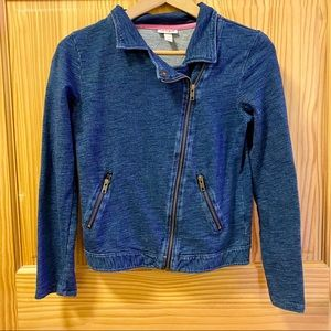 Cat & Jack denim look blue moto jacket coat